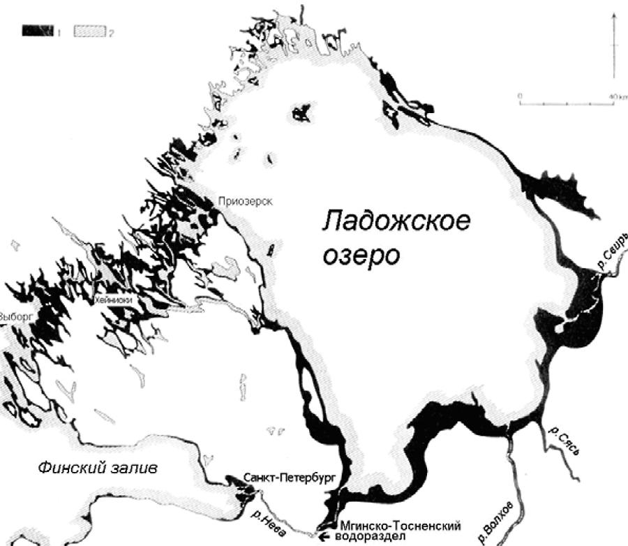 Карта, демонстрирующая современные очертания Ладожского озера (косая штриховка (2)) и во время максимума ладожской трансгрессии (черная окраска (1)) до прорыва р. Невы